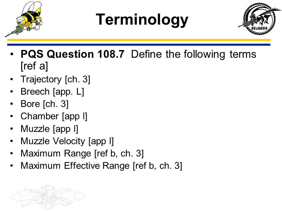 Terminology PQS Question 108.7 Define the following terms [ref a]